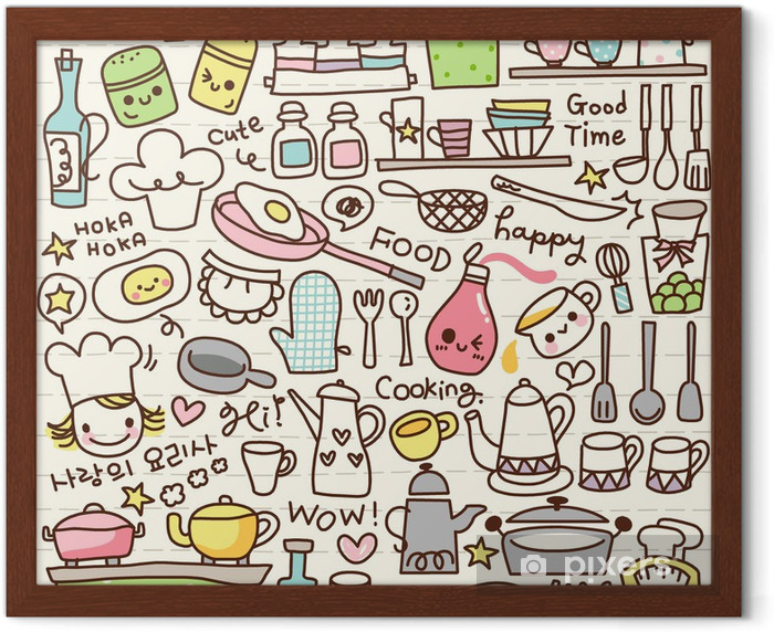 Poster in Cornice Carino roba cucina scarabocchio -