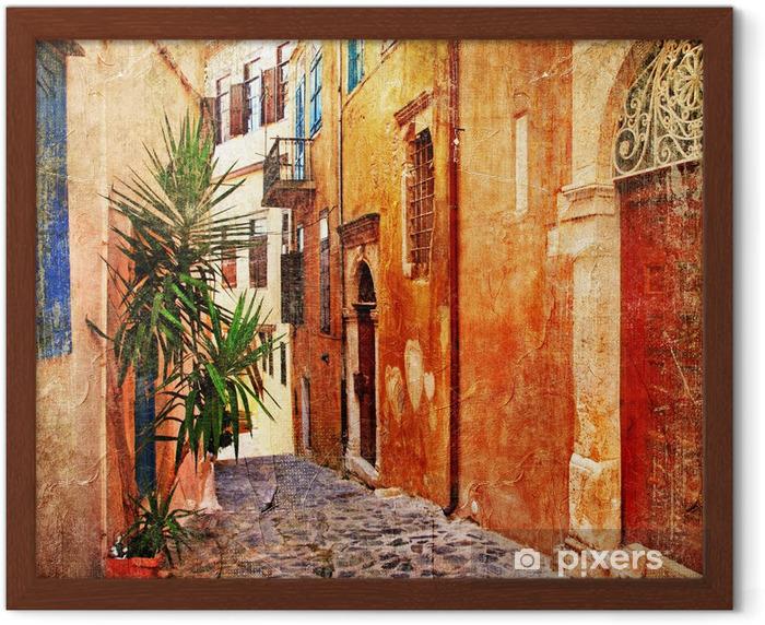 Plakat w ramie Stare uliczki - Seria tradycyjnych greece- artystyczne -