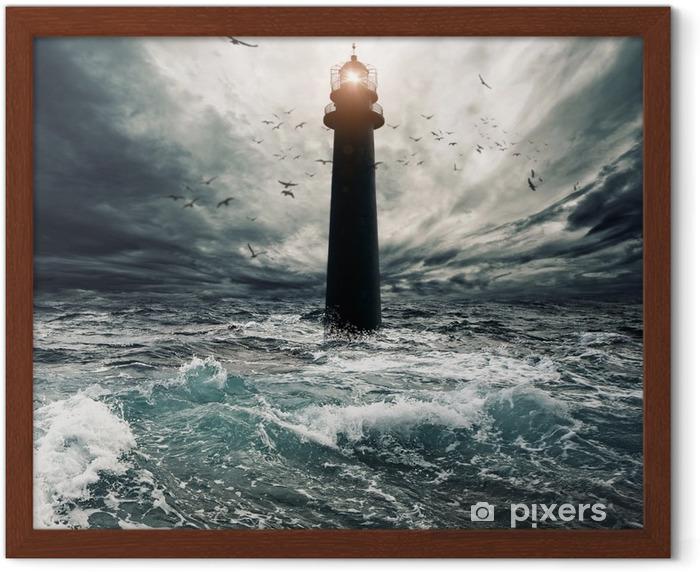 Stormy sky over flooded lighthouse Framed Poster - Lighthouse