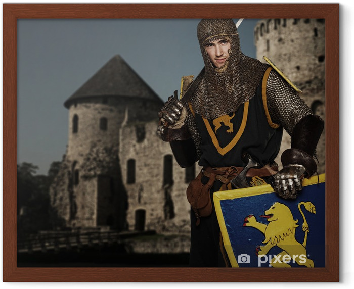 Knight against medieval castle. Framed Poster - Knights