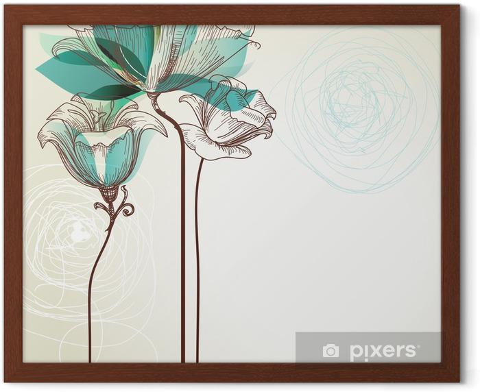 Ingelijste Poster Retro bloemen achtergrond - Stijlen