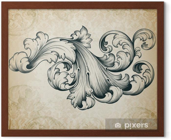 Poster in Cornice Vettore d'epoca barocca motivo floreale di scorrimento - Temi