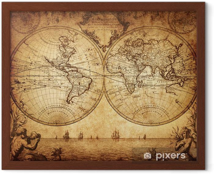 Poster en cadre Carte de cru du monde 1733 - Thèmes