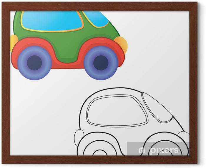Vektor Oyuncak Araba Boyama Kitabi Cerceveli Poster Pixers