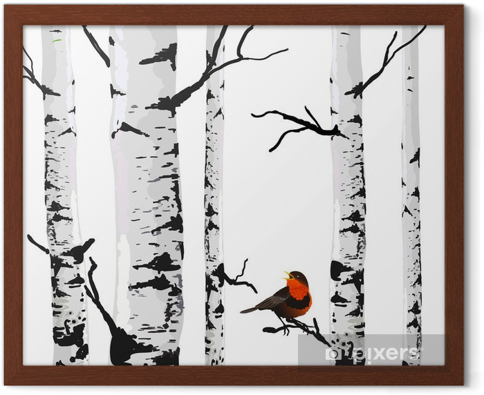 Bird of birches, vector drawing with editable elements. Framed Poster - Business