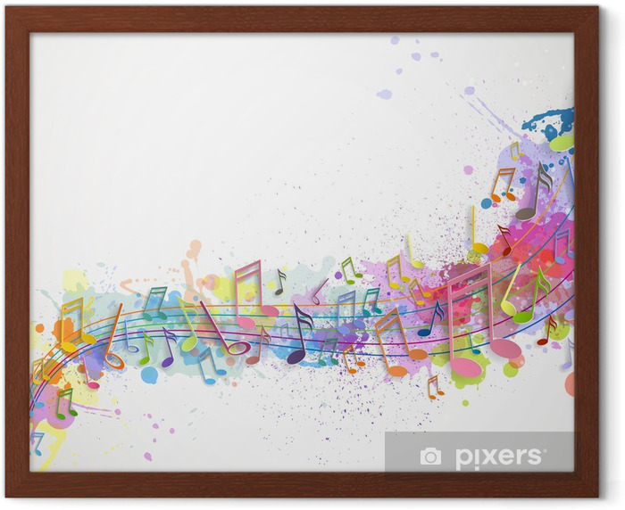 Vector Illustration of an Abstract Background with Music notes Framed Poster - Backgrounds
