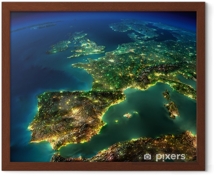 Night Earth. A piece of Europe - Spain, Portugal, France Framed Poster - iStaging