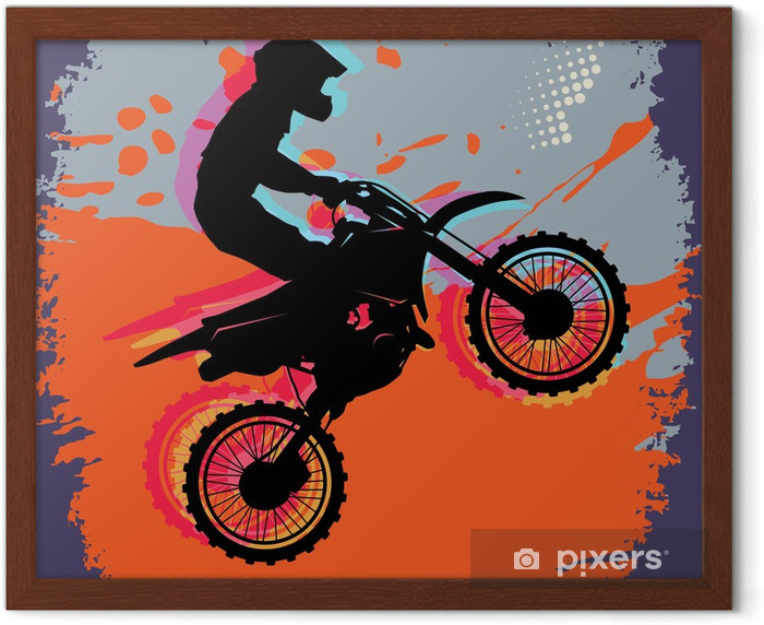 Motocross abstract background, vector illustration Framed Poster - Signs and Symbols