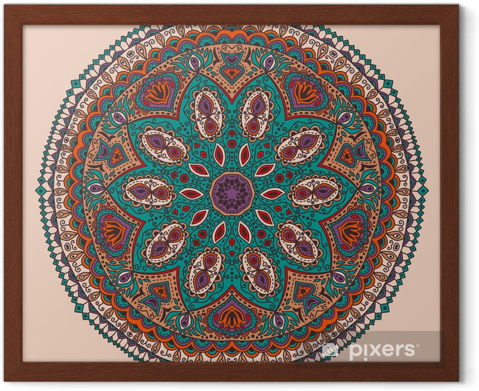 ornamental round lace pattern, circle background with many detai Framed Poster - Styles