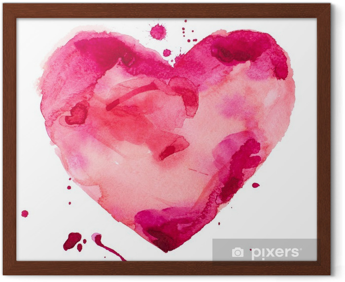 watercolor heart. Concept - love, relationship, art, painting Framed Poster - Concept