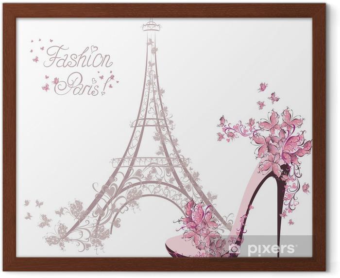 Plakat w ramie Buty na wysokim obcasie na tle wieży Eiffla. Paris Fashion - Moda