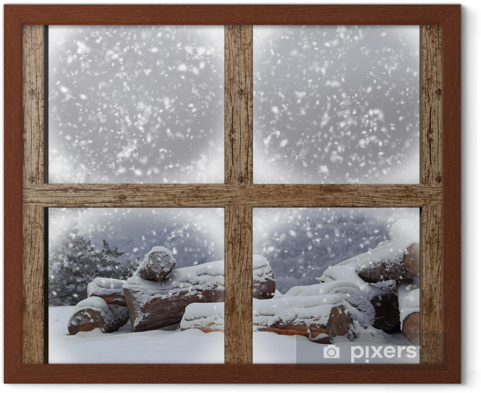 Winter outdoors view with firewood pile from wooden window Framed Poster - Themes