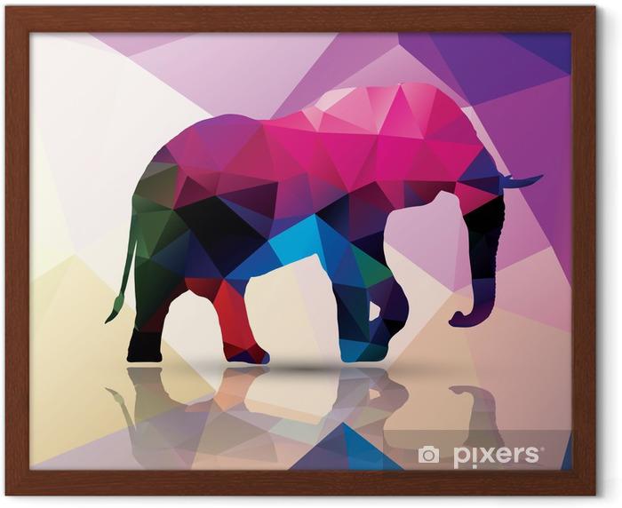 Plakat w ramie Geometryczne wielokąta słoń, wzornictwo, wektor - Tematy