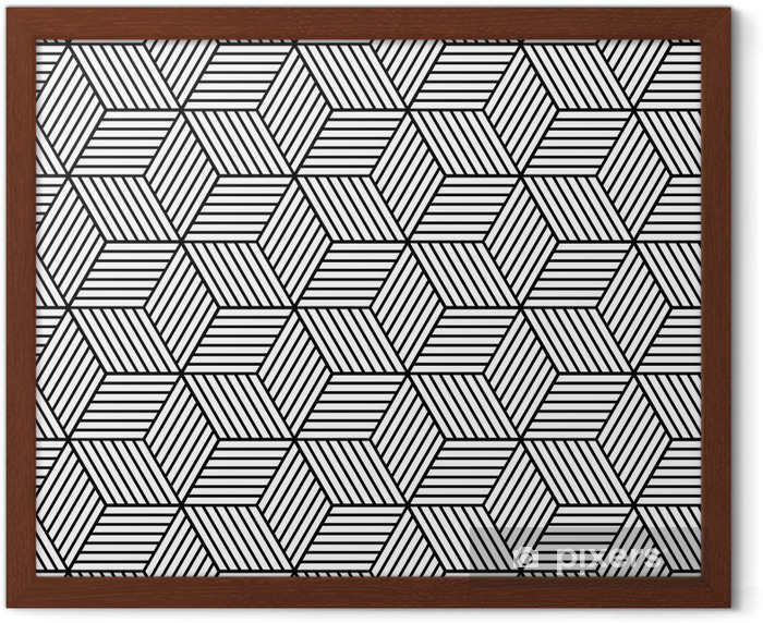 Poster en cadre Seamless géométrique avec des cubes. - Ressources graphiques