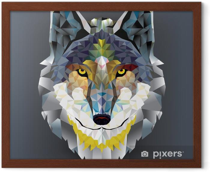 Wolf head geometric pattern. vector Framed Poster - Husky