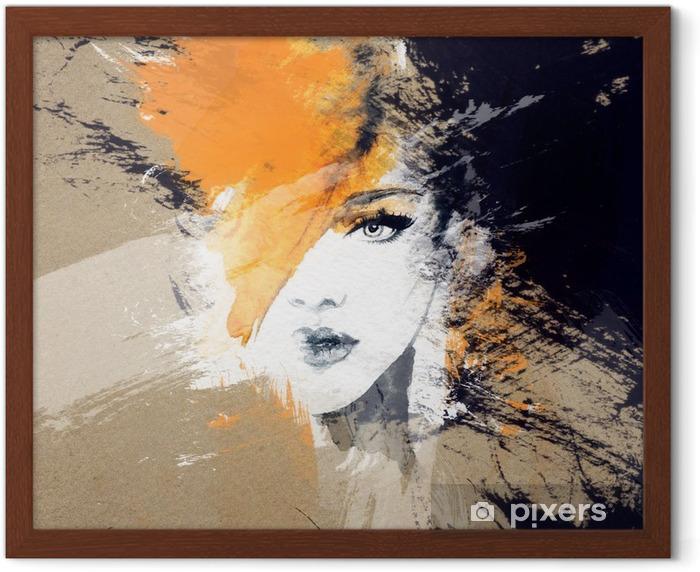 Póster Enmarcado Retrato de la mujer. acuarela abstracta. Fondo de la manera - Gente