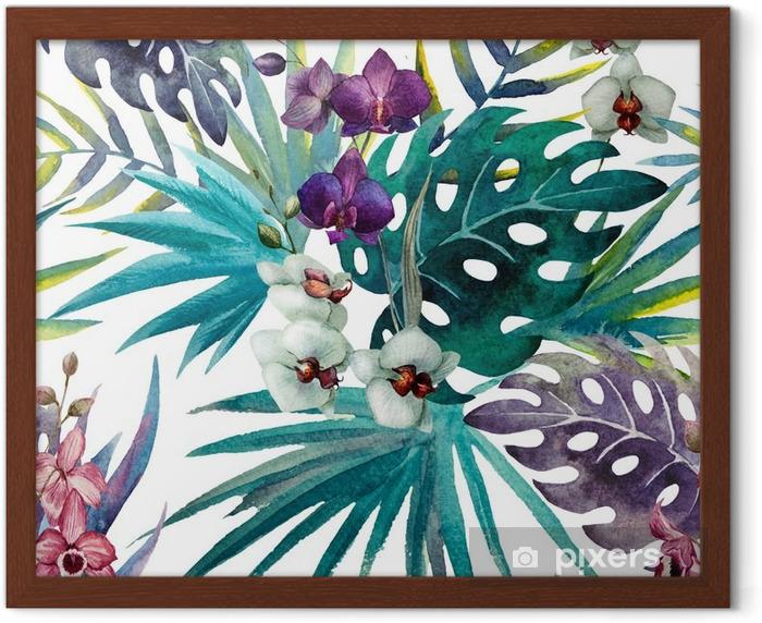 Gerahmtes Poster Muster mit Hibiskus- und Orchideenblättern, Aquarell - iStaging