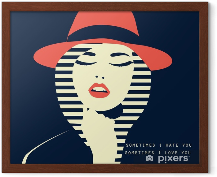 stylized sexy woman with hut Framed Poster - People