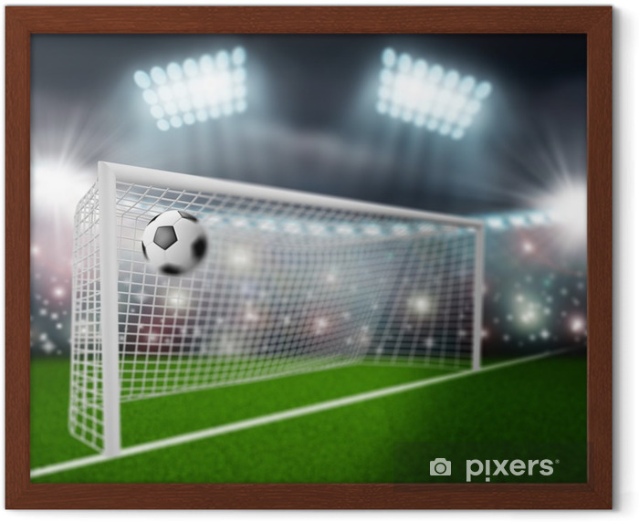 soccer ball flies into the goal Framed Poster - Sports Items