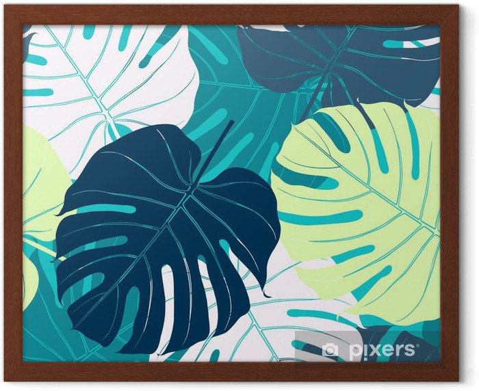 Seamless pattern with palm leaves. Framed Poster - Plants and Flowers