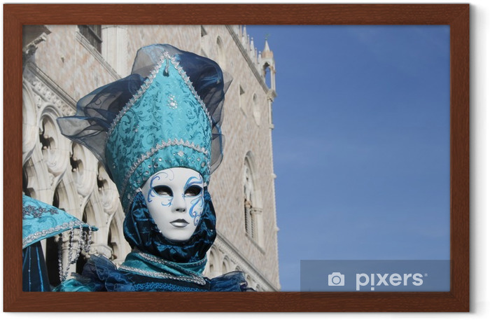 italy, venice. carnival mask posing in san marco square Framed Poster - Hobbies and Leisure