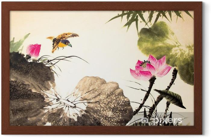 Póster Enmarcado Dibuja la pintura del loto de tinta mano - Plantas y flores