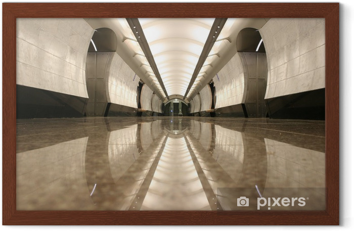 empty subway station floor Framed Poster - Moscow