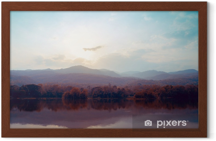 Landscape of lake mountains in autumn - vintage styles. Framed Poster - Landscapes