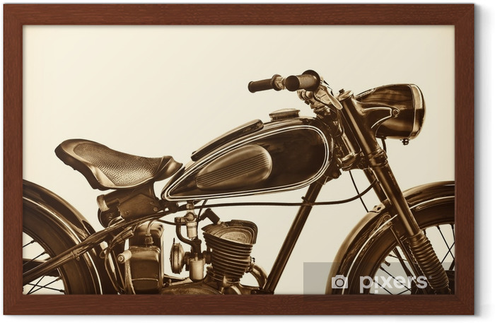 Sepia toned image of a vintage motorcycle Framed Poster - Transport