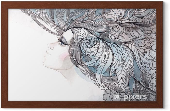 Gerahmtes Poster Ihr Haar kunstvoll mit Laub - Mode