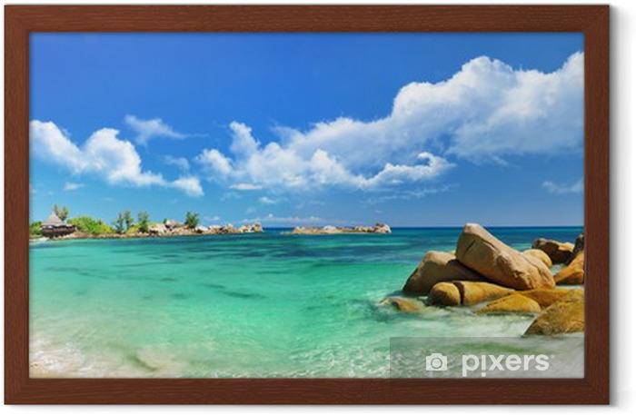 Poster in Cornice Seychelles spiaggia panorama - Temi