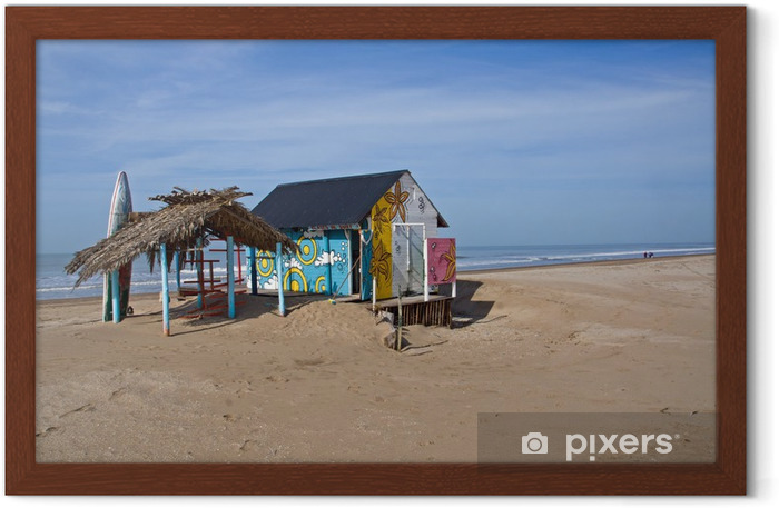 Cabana with a surfboard Framed Poster - Water Sports