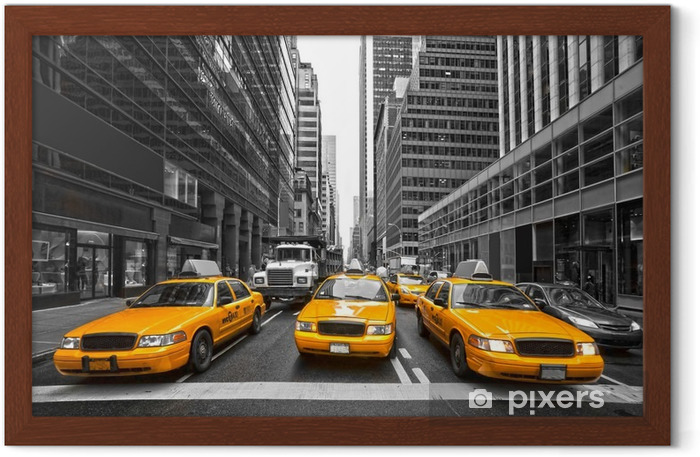 Póster Enmarcado TYellow taxis en Nueva York, EE.UU.. -