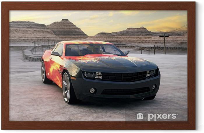 Gerahmtes Poster Sportwagen in der Wüste Sonnenaufgang 3D-Szene - Bereich