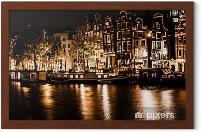 Amsterdam at night, The Netherlands Framed Poster - European Cities