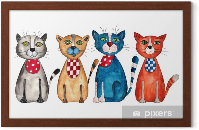 Cats. Watercolors on paper Framed Poster - Destinations
