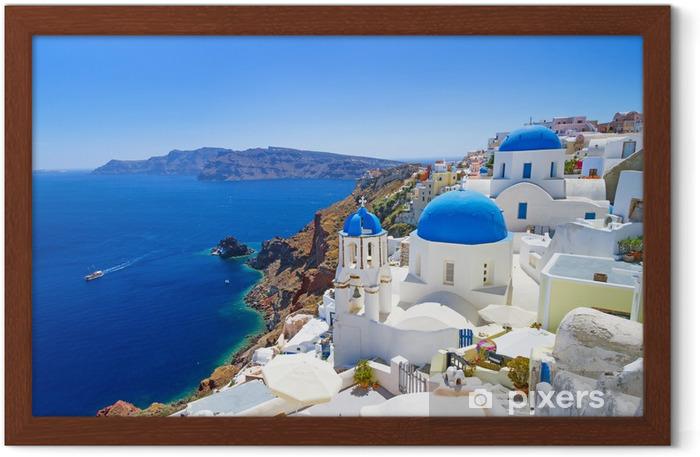 Poster in Cornice Architettura bianco del villaggio di Oia a Santorini, Grecia - Santorini