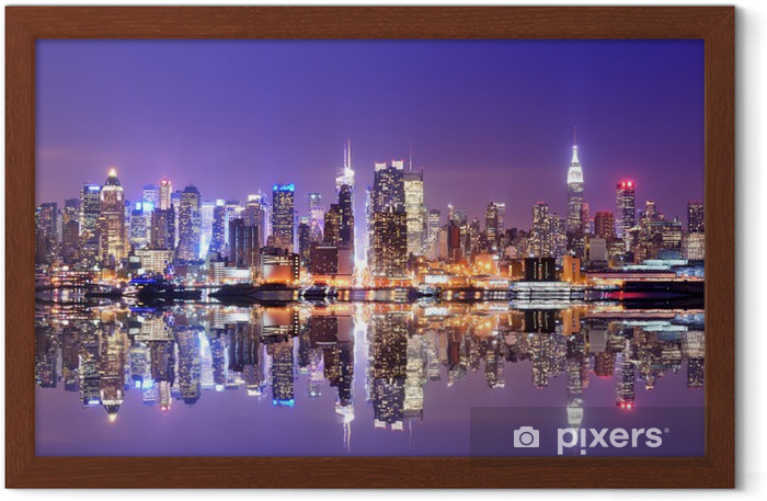 Ingelijste Poster Manhattan Skyline met Reflections -