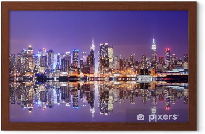 Póster Enmarcado Manhattan Skyline con reflexiones -