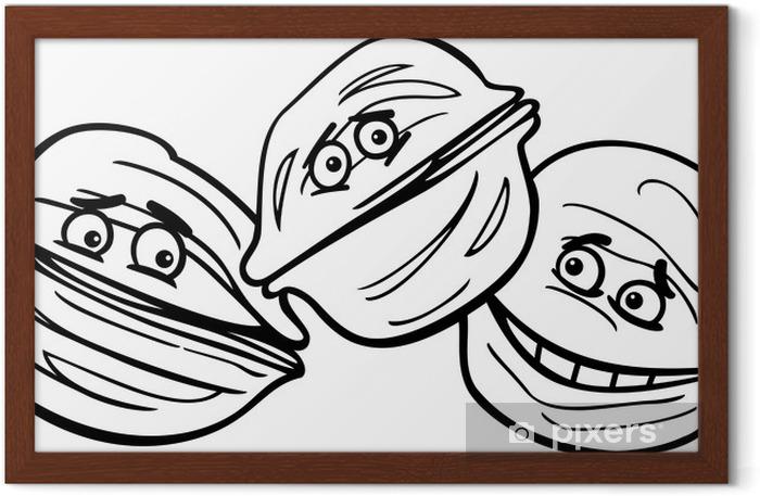 Ceviz Karikatur Boyama Cerceveli Poster Pixers Haydi