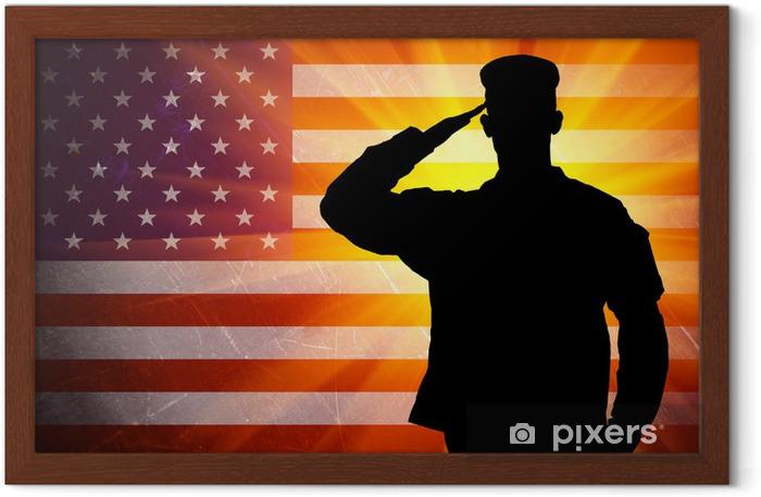 Poster en cadre Saluant fier soldat de l'armée des hommes sur fond de drapeau américain - Thèmes