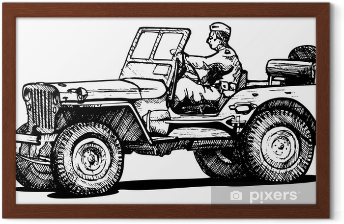 World war two army jeep. Framed Poster - On the Road