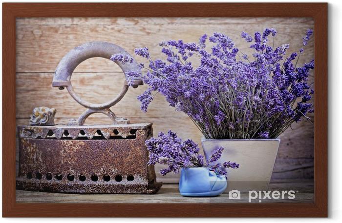 Poster en cadre Lavande sèche et rustique (rouillé) fer - style vintage - Herbes