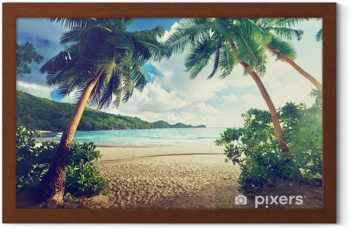Póster Enmarcado Puesta de sol en la playa, la isla de Mahe, Seychelles - Temas