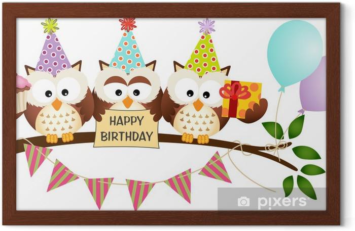 Poster in Cornice Carino Tre Gufi Buon Compleanno - Celebrazioni