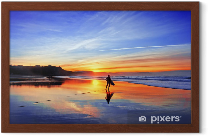surfer in beach at sunset Framed Poster - Themes