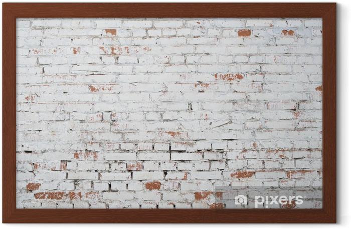 Plakat w ramie Pęknięty białe cegły ściany grunge teksturę tła barwione stare - Tematy