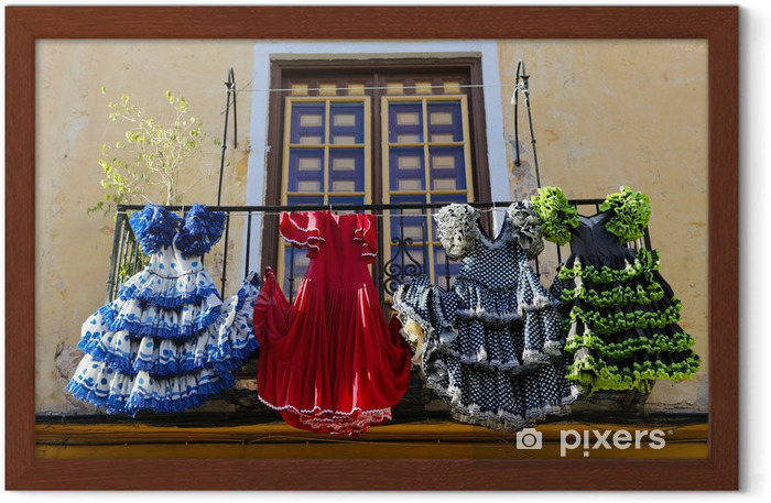 Traditional flamenco dresses at a house in Malaga, Spain Framed Poster - European Cities
