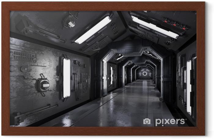 Gerahmtes Poster Gang durch ein dunkles Raumschiff - Wissenschaft