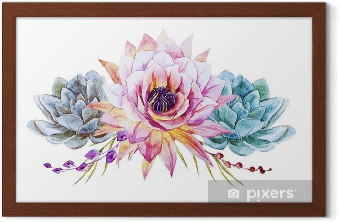 Plakat w ramie Akwarela lotus - Rośliny i kwiaty